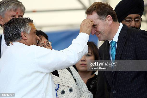 Leader of the Opposition John Key is welcomed to the Diwali Festival of Lights at the Viaduct Harbour on October 18 2008 in Auckland New Zealand The...