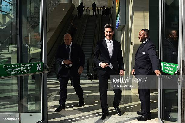 Leader of the opposition Labour Party Ed Miliband leaves after launching of the Labour Party Education Manifesto for the general election in centrtal...
