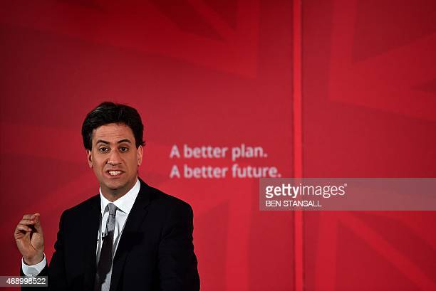 Leader of the opposition Labour Party Ed Miliband speaks during the launch of the Labour Party Education Manifesto for the general election in...