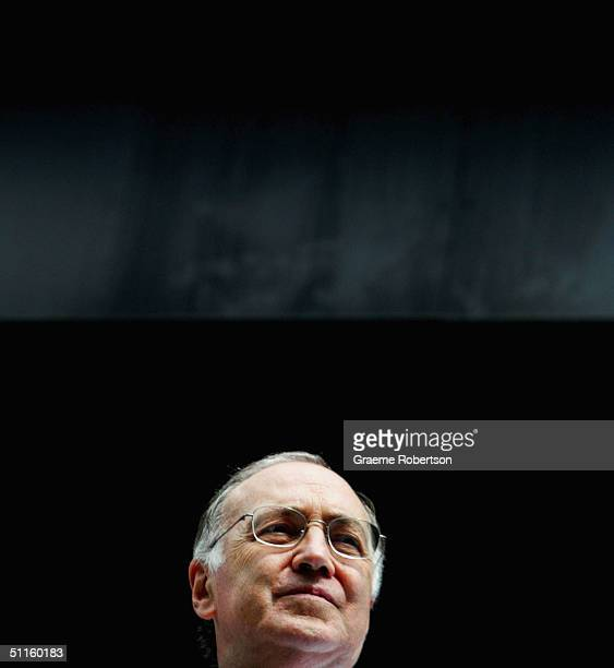 Leader of the Opposition Michael Howard looks over Leicester Square August 11 2004 in London Howard announced that if elected as Prime Minister he...
