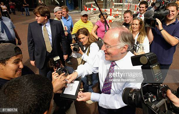Leader of the Opposition Michael Howard meets the public in Leicester Square August 11 2004 in London Howard announced that if elected as Prime...