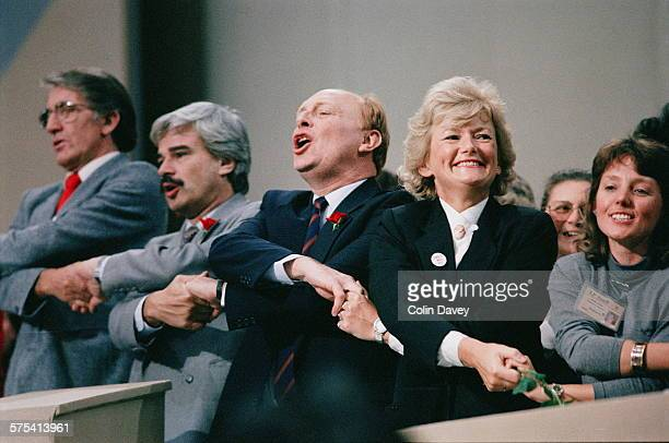 Leader of the Opposition Neil Kinnock at the Labour Party Conference in Brighton October 1989 He is ending the conference with the traditional...