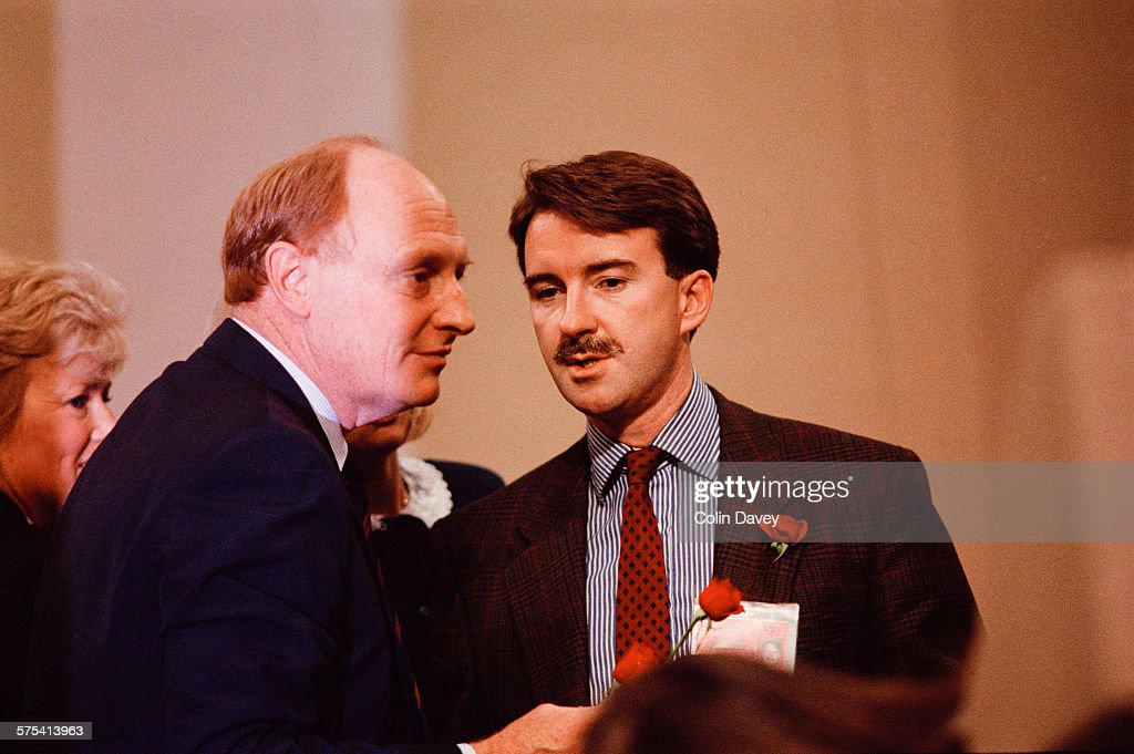 Leader of the Opposition Neil Kinnock talks to Peter Mandelson the Labour Party's director of communications at the Labour Party Conference in...