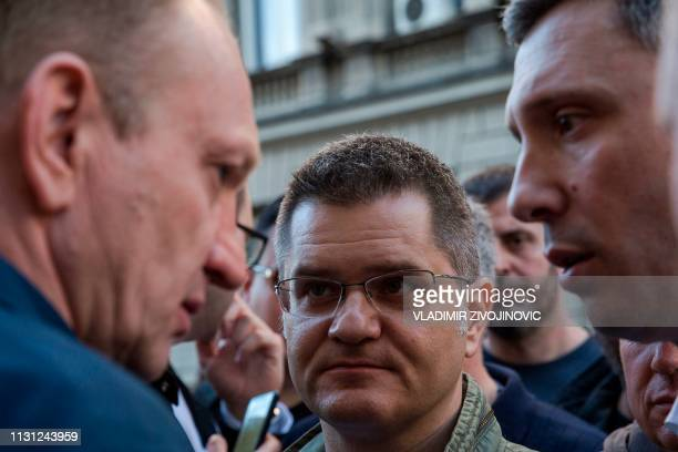 Leader of the opposition Peoples Party and former Belgrade Mayor Dragan Djilas head of the rightwing Dveri party Vuk Jeremic and opposition leaders...