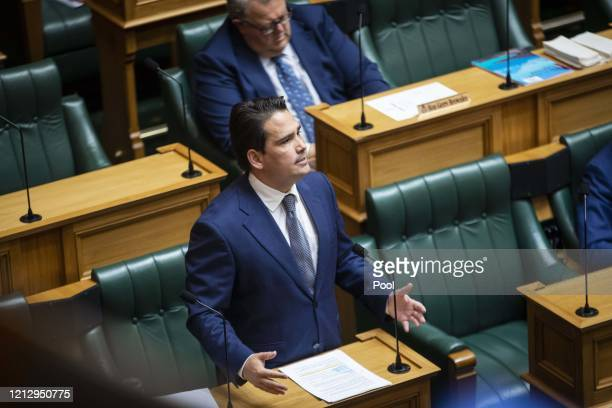 Leader of the opposition Simon Bridges delivers his speech in The House, Budget 2020 in Parliament on May 14, 2020 in Wellington, New Zealand. Budget...