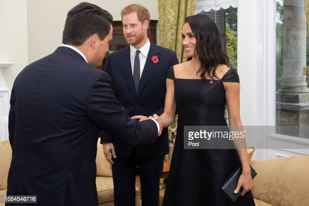 Leader of the opposition Simon Bridges meets Prince Harry Duke of Sussex and Meghan Duchess of Sussex during a call by the leader of the opposition...