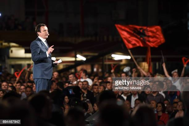 Leader of the opposition Vetevendosje party and parliamentary elections candidate Albin Kurti addresses his supporters during a closing election...
