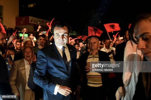 Leader of the opposition Vetevendosje party and parliamentary elections candidate Albin Kurti arrives to attend a closing election campaign rally in...