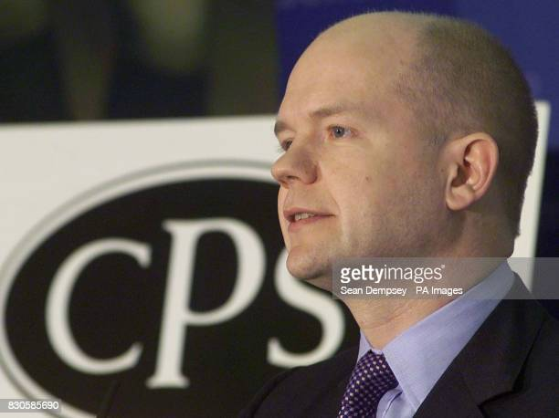 Leader of the opposition William Hague talks at the Institute Of Directors in Pall Mall at a meeting of The Centre for Policy Studies launching an...