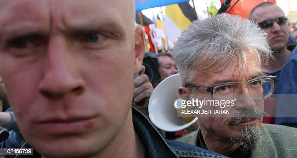 Leader of The Other Russia movement and former Russian National Bolshevik Party leader Eduard Limonov takes part in the March of the Dissenters in...