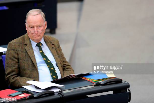 Leader of the parliamentary group of the Alternative for Germany farright party Alexander Gauland looks on during the first session of the...