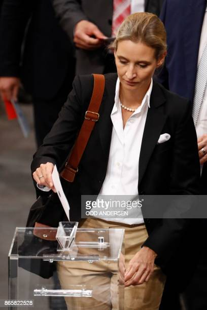 Leader of the parliamentary group of the farright party Alternative for Germany Alice Weidel casts her vote to elect the parliament vicepresident...