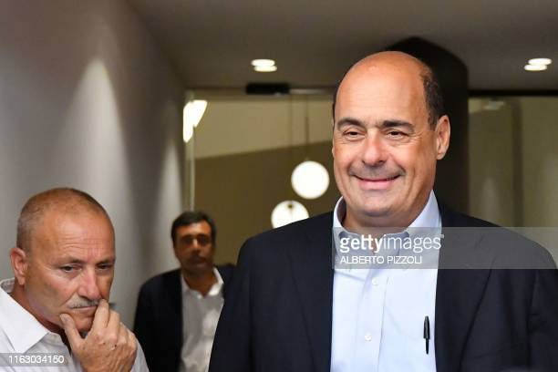 Leader of the Partito Democratico political party Nicola Zingaretti leaves the PD headquarters to answer journalists' questions on August 21 2019 in...
