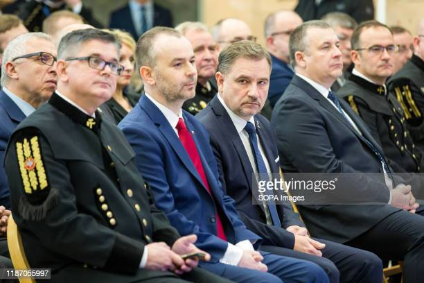 Leader of the Polish Trade Union NSZZ Solidarnosc; Piotr Duda, President of the Management Board of PGE, Henryk Baranowski, President of the...