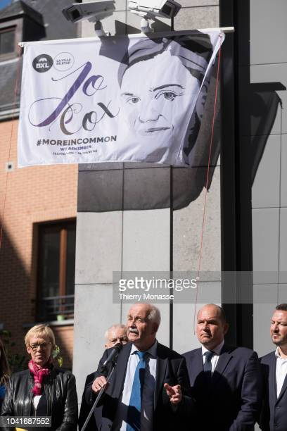 Leader of the Progressive Alliance of Socialists and Democrats German MEP Udo Bullmann attend a ceremony ceremony to name a square in honour of slain...