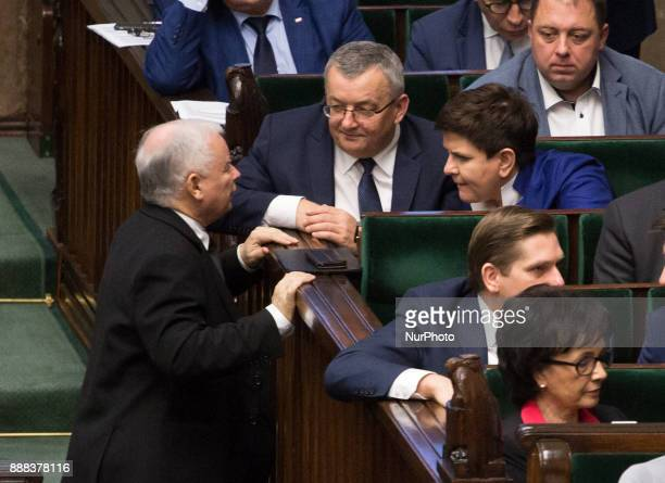 Leader of the ruling Law and Justice Party Jaroslaw Kaczynski and Prime Minister Beata Szydlo during the plenary session of Sejm in Warsaw Poland on...