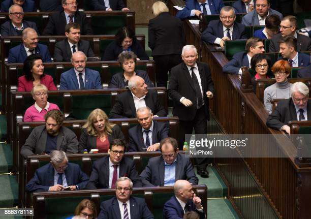 Leader of the ruling Law and Justice Party Jaroslaw Kaczynski during the plenary session of Sejm in Warsaw Poland on 8 December 2017 Polish Sejm will...