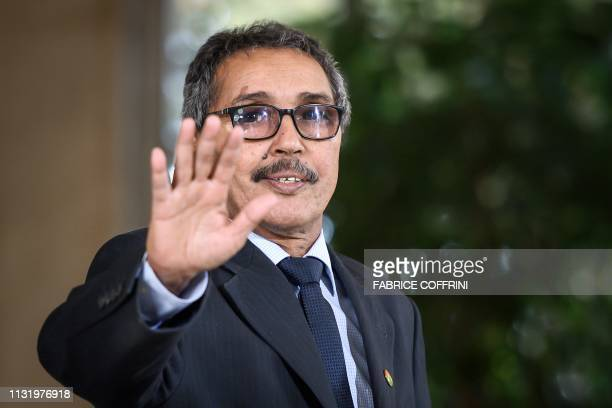 Leader of the Sahrawi delegation and Frente Polisario Khatri Addouh arrives to address the media following a twoday round of talks on ending the...