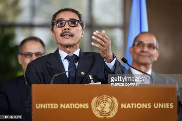 Leader of the Sahrawi delegation and Frente Polisario Khatri Addouh gestures as he addresses the media following a twoday round of talks on ending...