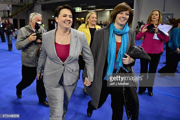 Leader of the Scottish Conservatives Ruth Davidson and Jen Wilson arrive at the Glasgow count for the UK parliamentary elections on May 8 2015 in...