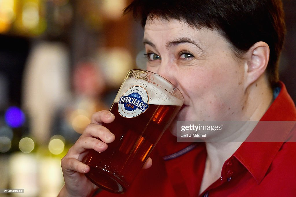 Scottish Conservative Leader Meets Voters In The Pub : News Photo