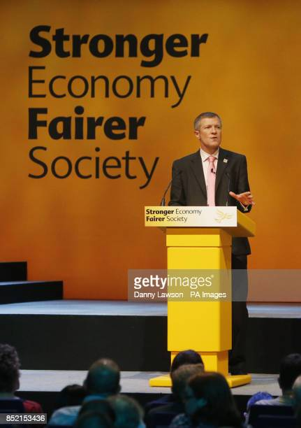 Leader of the Scottish Liberal Democrats Willie Rennie addresses the Liberal Democrats' autumn conference at The Clyde Auditorium in Glasgow Scotland