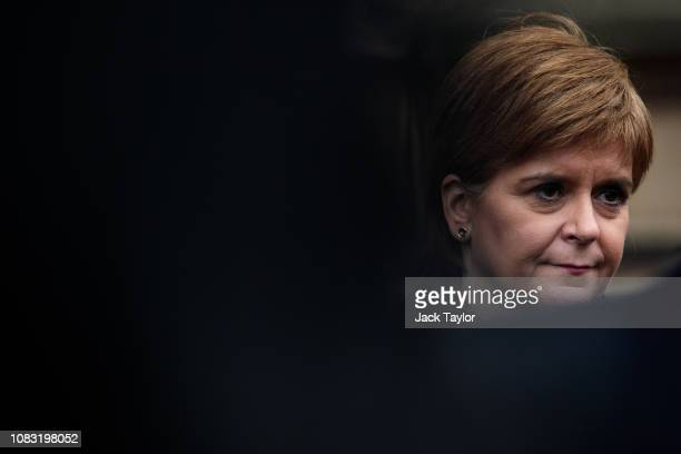 Leader of the Scottish National Party Nicola Sturgeon speaks to media outside the Houses of Parliament on January 16 2019 in London England The...