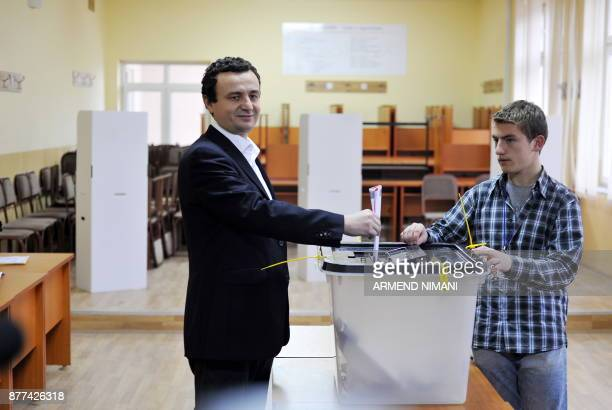 Leader of the 'Selfdetermination Party' Albin Kurti casts his vote at a polling station on December 12 2010 in Pristina Kosovars vote today in the...