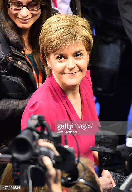 Leader of the SNP Nicola Sturgeon arrives for the Glasgow declarations on May 8 2015 in Glasgow Scotland The United Kingdom has gone to the polls to...