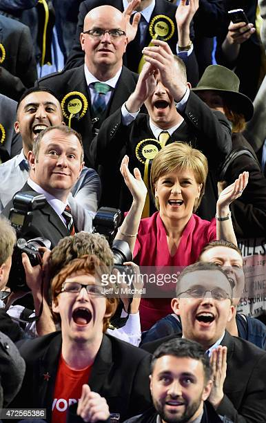 Leader of the SNP Nicola Sturgeon attends the Glasgow declarations on May 8 2015 in Glasgow Scotland The United Kingdom has gone to the polls to vote...