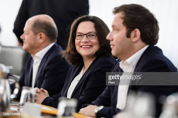 Leader of the Social Democratic Party and Chairwoman of the SPD faction Andrea Nahles arrives for a meeting of the SPD presidium on September 24 2018...
