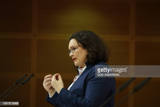 Leader of the Social Democratic Party Andrea Nahles gives a press conference at Willy Brandt House the headquarters of the the Social Democratic...