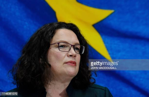 Leader of the Social Democratic Party Andrea Nahles gives a speech during the election evening at the party's headquarters on May 26 2019 in Berlin...