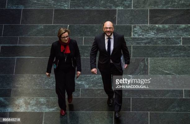 Leader of the Social Democratic Party Martin Schulz arrives for talks about forming a coalition government involving the Social Democratic Party the...