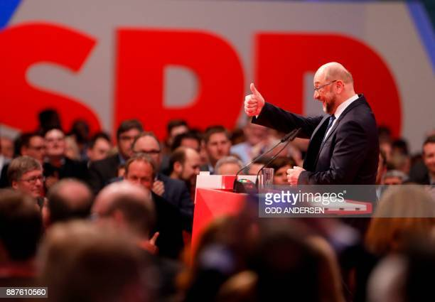 Leader of the Social Democratic Party Martin Schulz gestures after delivering a speech during a party congress of Germany's Social Democrats in...