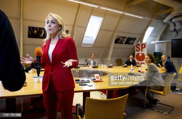 Leader of the Socialist Party leader Lilian Marijnissen during a party meeting of the SP in the Thorbeckezaal in The Hague, on March 18 the day after...