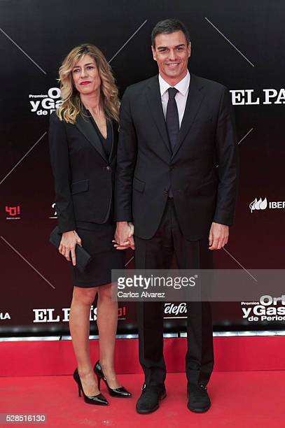 Leader of the Socialist Party Pedro Sanchez and wife Begona Gomez attend Ortega Y Gasset journalism awards 2016 at Palacio de Cibeles on May 05 2016...