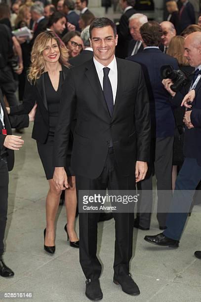 Leader of the Socialist Party Pedro Sanchez and wife Begona Gomez attend Ortega Y Gasset journalism awards 2016 at Palacio de Cibeles on May 05 2016...