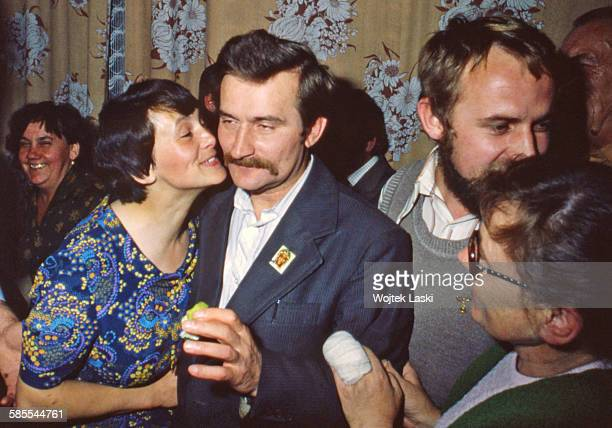 Leader of the 'Solidarity' trade union Lech Walesa and his wife Danuta at the housewarming party in their new flat in Gdansk Poland in September 1980...