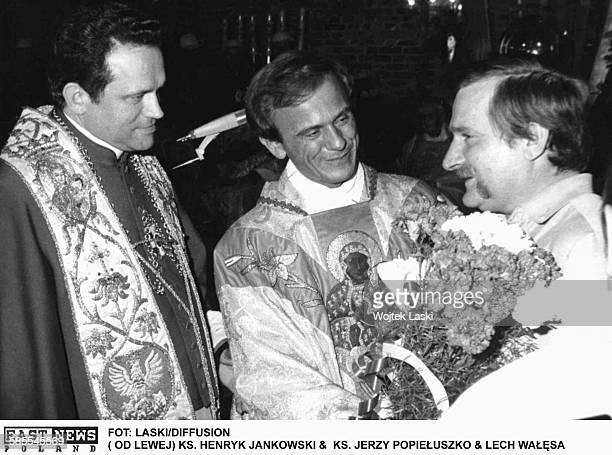 Leader of the Solidarity trade union Lech Walesa with priest Jerzy Popieluszko and priest Henryk Jankowski in Gdansk Poland 1980