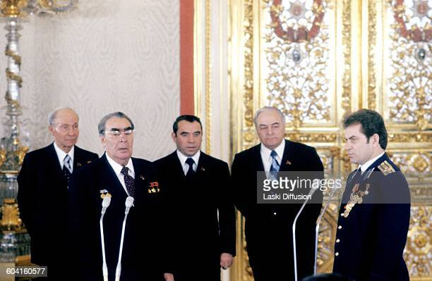 Leader of the Soviet Union Leonid Brezhnev and astronaut of space station Salyut6 Vladimir Kovalyonok Moscow USSR in December 1978