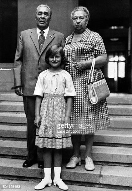 Leader of the Soviet Union Leonid Brezhnev with his wife Viktoria and granddaughter USSR 1980