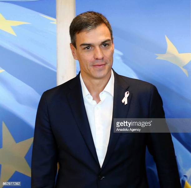 Leader of the Spanish socialist party Pedro Sanchez arrives to meet with the President of the European Commission JeanClaude Juncker in Brussels...