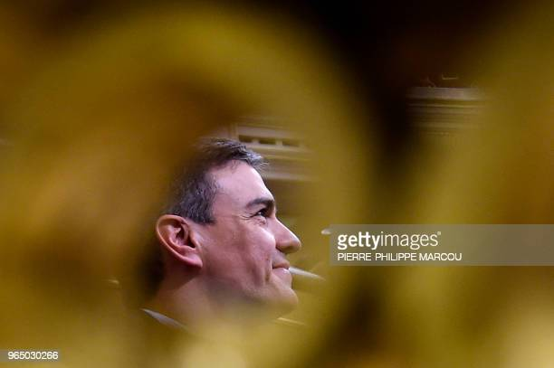 TOPSHOT Leader of the Spanish Socialist Party PSOE Pedro Sanchez attends a debate on a noconfidence motion at the Lower House of the Spanish...