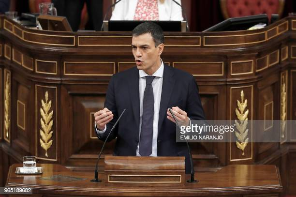 Leader of the Spanish Socialist Party PSOE Pedro Sanchez gives a speech during a debate on a noconfidence motion at the Lower House of the Spanish...