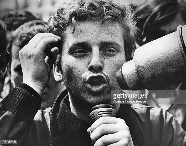 Leader of the striking University students Daniel CohnBendit addresses a meeting at the Gare de l'Est Paris