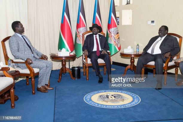 Leader of the Sudan Liberation Moment/Army in Darfur Minni Arko Minnawi sits next to South Sudan's President Salva Kiir and South Sudan security...