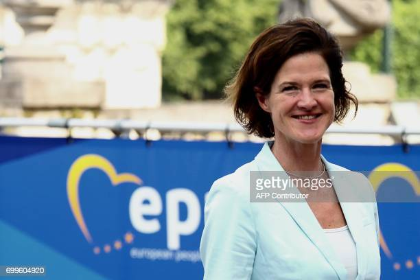 Leader of the Sweeden Moderate Party Anna Maria Kinberg Batra arrives at the European People's Party headquarters in Brussels for a EPP meeting on...