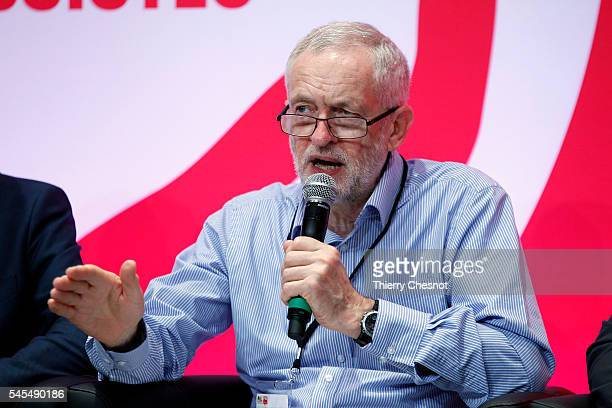 Leader of the UK opposition Labour Party Jeremy Corbyn delivers a speech during an European Socialists conference on refugees at Maison de la...