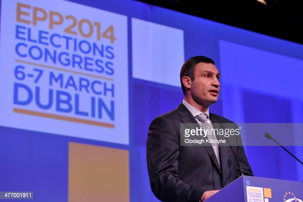 Leader of the Ukrainian Democratic Alliance for Reform party Vitaly Klitschko speaks at the European People's Party Elections Congress 2014 at the...